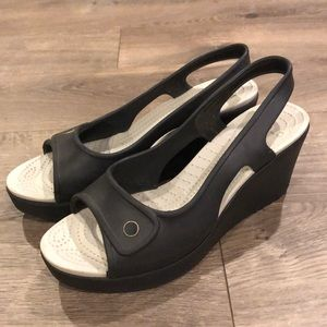 Crocs Wedge Sandals Size 10 Black Open Toe